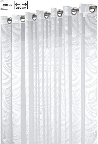 Voilage Voilage 280x280 cm Grand Mod/èle Vague Blanc