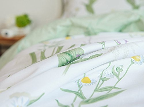 FADFAY Shabby Green Floral Duvet Cover Set Green Yellow Purple Blue Flowers Cotton Bedding Set 3 Pcs(1duvet Cover & 2pillowcases)California King Size by FADFAY (Image #8)