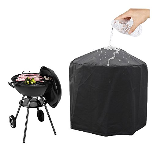 Charcoal Patio Post Mount Barbecue - Grill Cover,AYAMAYA Kettle Grill Waterproof Dustproof Round Cover,Patio Garden Gas Barbecue Smoker Cover with Elastic Strap Weather Water Resistant BBQ Cover for Weber,Brinkmann,Char Broil - [23