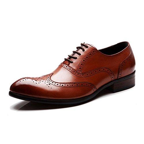 Fulinken Heren Lederen Oxford Schoenen Lace-up Slip Op Laarzen Brogue Schoenen Formele Kleding Schoenen Bruin