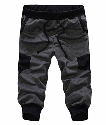 SoEnvy Men's Casual Harem Training Jogger Sport Short Baggy Pants Small Dark Gray