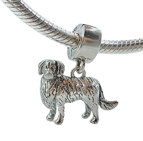 Bolenvi Golden Retriever Dog 925 Sterling Silver Clip-On Dangle Pendant X Charm Bead for Pandora & Similar Charm…