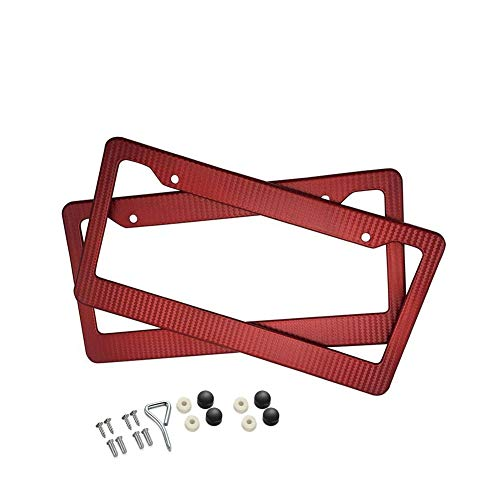 BLVD-LPF OBEY YOUR LUXURY  Car Carbon Fiber Painted Style Red Front Rear License Plate Frame Cover with Screw (Pack of 2) ()