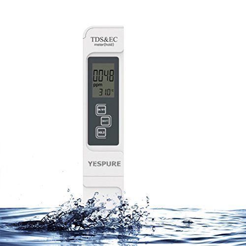 Water Quality Tester, YESPURE Handheld TDS Quality Water Tester Meter 0 - 9990 ppm TDS Measurement 4 IN 1 - Conductivity Handheld Set Meter