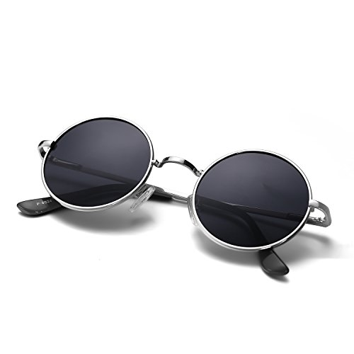 Menton Ezil Round Vintage Mirror Lenses UV protection Polarized unisex Small Hippie Syle Sunglasses for Men With Black Silver Metal Frame Black Lens - Frame Sunglasses Circle