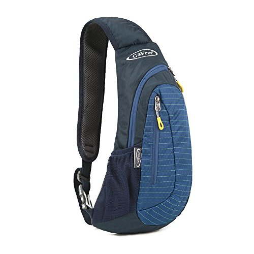 G4Free Unisex Shoulder Backpack, Mini Casual Cross Body Bag Outdoor Sling Backpack Chest Pack Blue for Cycling Hiking Camping Travel(Blue)