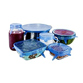 Kitchen + Home Silicone Stretch Lids - Set of 6 Silicone Food Saver Covers - BPA 86 SUPERIOR QUALITY - Be careful with look-alike products. Ours have been thoroughly tested, and they are made from a stronger material that won't tear or slip off. Despite the thick construction, they stretch better, and provide a sturdier and leak-proof suction lid. LIDS THAT FIT - Packed with elasticity, these things can expand to fit many shapes and sizes of containers, and then contract to create a strong hold. Round in shape, but effective on various containers with different geometry. Place on square or rectangle dishes just as easily as round or oval ones. With several sizes in each set, you are sure to have one for anything you need to cover. REUSEABLE - Unlike plastic wrap, baggies and other disposable storage items, these can be used over and over again. They will retain their shape and ability for many years, and they are easily washed when dirty.