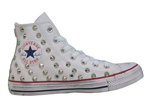 Converse All Star Borchiate Pelle Bianche Personalizzate (Prodotto Artigianale)