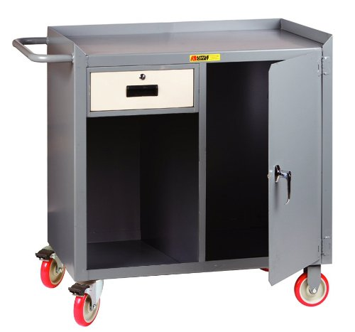 Little Giant MC1D2436-1DRTL Steel Mobile Bench Cabinet with Drawer and Door, Gray, 1200 lbs Load Capacity, 38'' Height x 24'' Width x 36'' Length