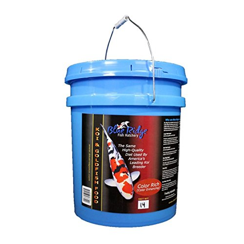 Blue Ridge Pond Fish Food for Mixed Koi and Goldfish - 14 lb Bucket - Color Rich