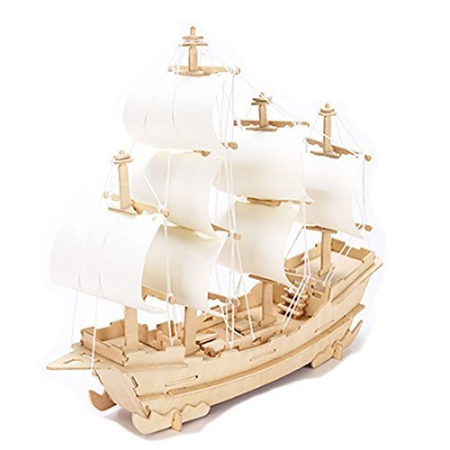 - 3D sailboat DIY Wooden Jigsaw Puzzle Toy or Hobby Decorative Merchant Ship Boat Model Gift by STONG