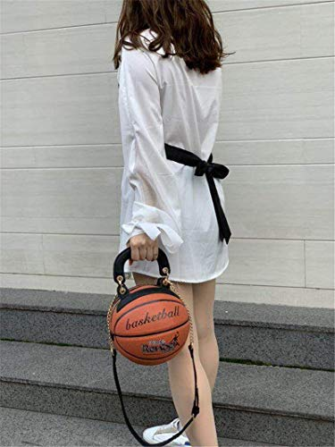Basketball Shaped Shoulder Messenger Handbags Purse Tote Cross Body PU Bag Adjustable Strap for Women Girls