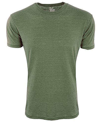 YoungLA Mens T Shirts Burnout Muscle Shirts Workout Running Short Sleeve Casual Tee 425 Dark Olive (Green Workout T-shirt)