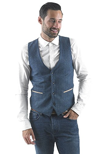 Mens Herringbone Vintage Blazer Marc Tweed Or Designer Check Waistcoat Darcy Blue 5xHWPYBq