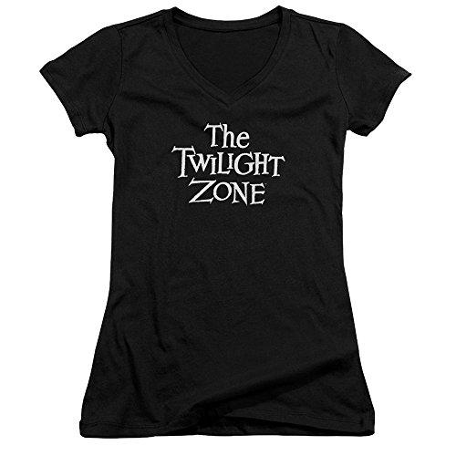 Twilight Zone Logo Juniors V-Neck Shirt Black Lg ()