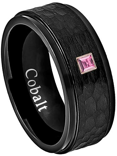 0.05ctw Solitaire Princess Cut Pink Tourmaline Cobalt Ring - 8MM Hammered Black Stepped Edge Cobalt Chrome Wedding Band - October Birthstone Ring - s7 ()