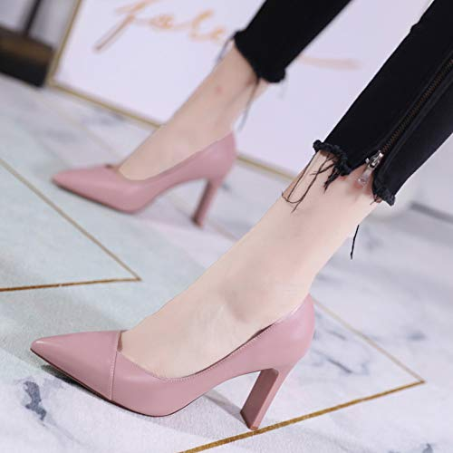Mouth With Single Female Workplace Pink Shallow High heels High Yukun Wild Shoes Heels Wild Thick Fashion Autumn Pointed ZHWFz4q