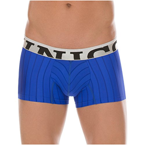 Mundo Unico Colombian Underwear for Men Stripes Microfiber Short Boxer Briefs Calzoncillos para Hombres Blue M