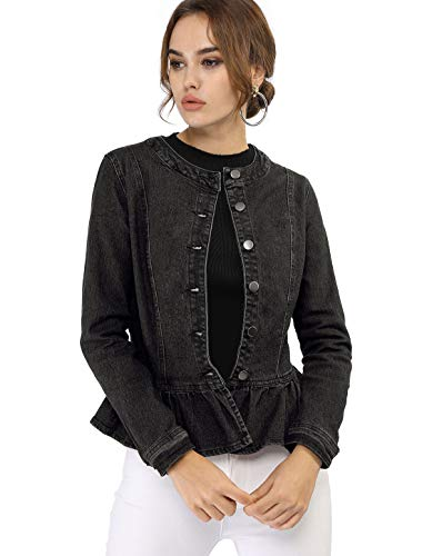 - Allegra K Women's Peplum Button Down Cropped Ruffled Hem Denim Jackets Black S