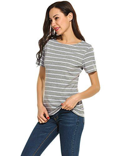 POGTMM Women Black and White Striped Short Sleeve T-Shirt Tops Slim Fit Stripes Tee (M, Light Gray)