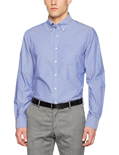 Casual Broadcloth The Homme Chemise yale Plain Regular Gant Button Blue Down Bleu E67Rx0qETw