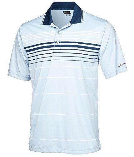 Greg Norman Mens Links Striped Rugby Polo Shirt, Blue, Medium