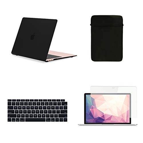 TOP CASE 4 in 1 Bundle - Rubberized Hard Case, Keyboard Cover, Sleeve Bag, Screen Protector Compatible with 2018 Release MacBook Air 13 Inch with Retina Display fits Touch ID Model: A1932 - Black