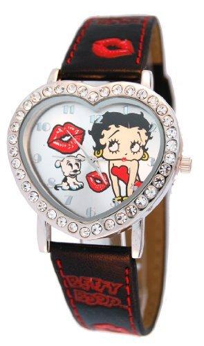 Betty Boop Women's Heart Shape Leather Strap Watch #BB-W540A