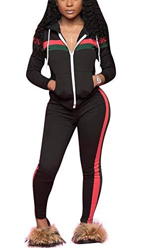 LKOUS Women Long Sleeve Striped Print 2 Pieces Outfits Sweatshirt Skinny Pants Jumpsuit Sport Sweatsuit Fall