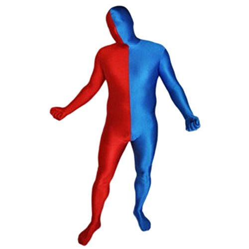 [Muka Lycra Color-Block Black Zentai Supersuit Halloween Costume Full BodySuit REDBLUE-M] (Morph Suit Costumes Ideas)