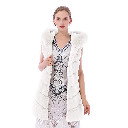 (Dikoaina Women's Faux Fox Fur Vest Sleeveless Long Fur Jacket Waistcoat Warm Coat Outwear (XL, Rabbit White))