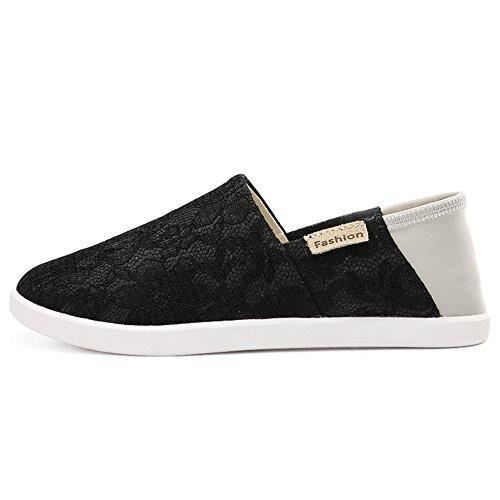 SUNAVY Damen Einfach Low-top Slip-on Leinwand Canvas Sneakers Loafers FahrenSchuh Hausschuhe (EU 34—EU 40) 6Msxb