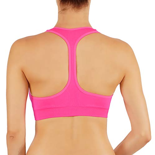 - Bise Women's Yoga Top Sports Bra Removable Padding Race T-Back (S, BSB1004-NPNK)