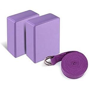 "Yoga Foam Blocks (Set of 2) plus strap with Metal D Ring Standard Studio Size 9"" x 6"" x 4"""
