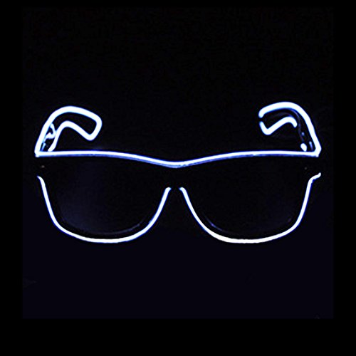 Aquat Glow Flashing LED Neon Rave Glasses El Wire Sunglasses Light up Costumes For Party, EDM, Halloween RB01 (White, Black Frame)