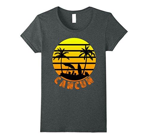 Womens Cancun Mexico Beach Palm Tree T Shirt Party Destination Gift Small Dark Heather