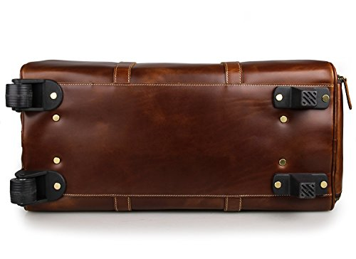 Mens Leather Travel Duffel Bag Brown Weekend Wheeled Carry ON Luggage Bags by Huntvp (Image #4)