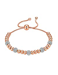 Capital Charms Silver Rose Gold Bead Slider Bracelet for Women and Girls with Cubic Zirconia Crystal