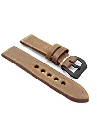 StrapsCo 22mm Green Extra Thick Antique Vintage Leather Watch Band w/ Black Pre-V Buckle