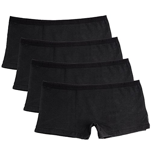 Boys In Panties (Closecret Lingerie Women's Comfort Soft Boyshorts Stretch Cotton Panties (4 Black, L(Waist: 30-32 inch)))