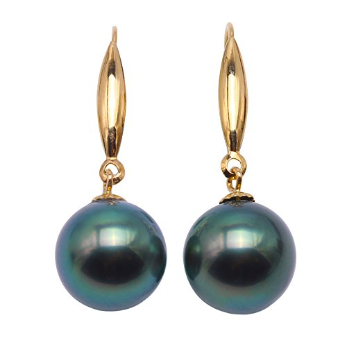 JYX Pearl 18K Yellow Gold 9mm Round Peacock Green Tahitian Saltwater Cultured Pearl Dangle Drop - Drop Peacock Cultured Pearl