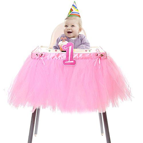 "HBBMagic Baby 1st Birthday Deluxe High Chair Tutu Tulle Skirt Decoration Party Supplies Centerpiece, 37"", Multiple Colors (Pink)"