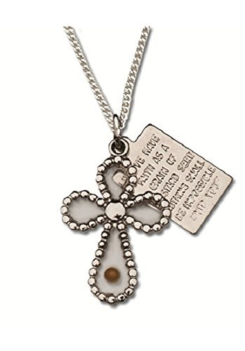 Mustard Seed in Cross with Engraved Faith Poem on a Silver Tag Gift Boxed