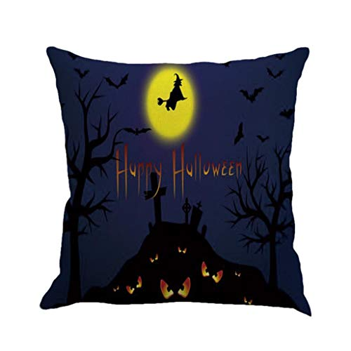 GREFER Happy Halloween Pillow Cases Linen Sofa Cushion Cover Home Decor (H)