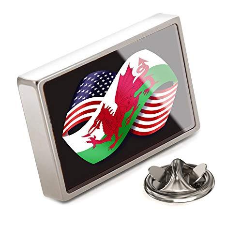 (NEONBLOND Lapel Pin Friendship Flags USA and Wales (Cymru) Region United Kingdom)