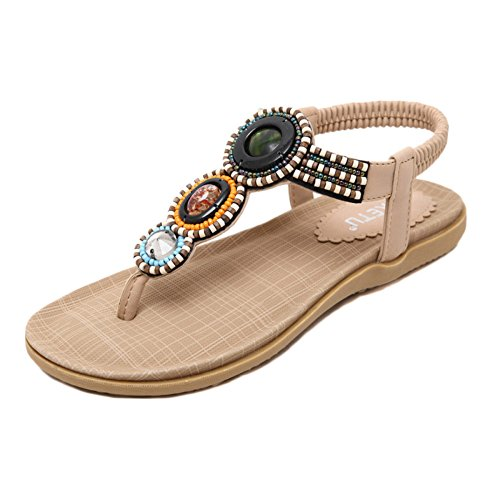 Marrón Plataforma Bohemia Sandalias Étnicas Para Cuentas De Planos Zapatos Con Playa Vacaciones Chanclas Mujer XOPpqxqw