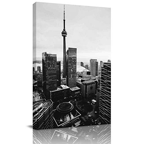 Arts Language Canvas Print Wall Art Black and White,Toronto City Buildings Landscape Stretched and Framed Modern Giclee Artwork for Office/Livingroom/Bedroom/Hallway 36x24in