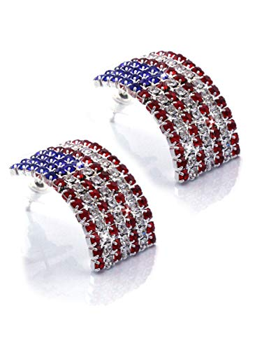 cocojewelry USA American Flag Patriotic Red Blue Rectangle Stud Earrings Jewelry (Silver-tone -