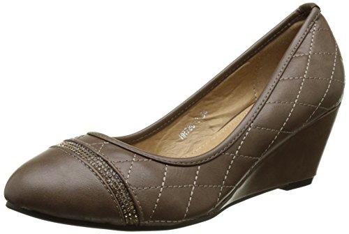 Escarpins compensés femme taupe talon de 5,5cm strass