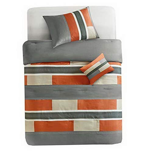 (Hemau - Pierre Comforter Set - 3 Piece - Gray/Orange - Pipeline Panels - Perfect for Dormitory - Boys - Twin/Twin XL Size, Includes 1 Comforter, 1 Sham, 1 Decorative Pillow | Style 503193225)